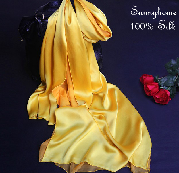 Golden Yellow Scarf Double Layer Scarves Muslim Islamic Fashion Patchwork 100% Satin Silk shawls Necklace Scarfs Foulards Soie(China (Mainland))