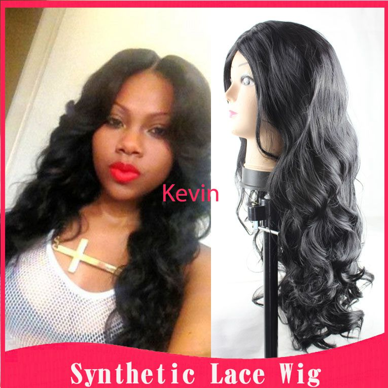 Sale Synthetic Lace Front Wig Natural Black Body Wave Wholesale Price Synthetic Wigs For Black Women Heat Resistant Cheap Wigs<br><br>Aliexpress