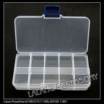 Free EMS 20pcs/lot Wholesale White Plastic Boxes 10-checks Jewelry Beads Display 13.4*7.2*2.4cm 120309
