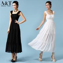 Ladies European Fashion 2015 Summer Sexy Slim Pleated White Black Sleeveless Tank Chiffon Long Casual Dresses Beach Wear QCD099