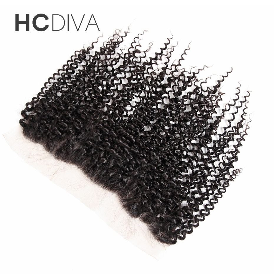 HCDIVA Hair Brazilian Non Remy Hair Natural Color 8″ to 18″ Kinky Curly 13×4 Lace Frontal 100% Human Hair Frontal Free Shipping