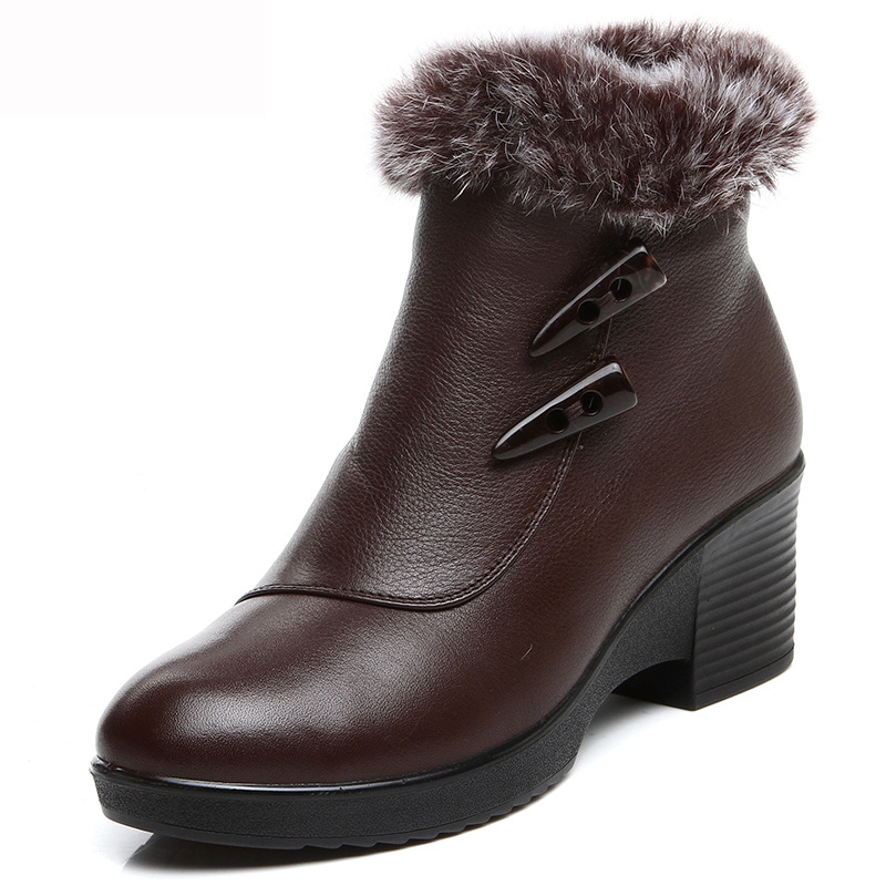 Гаджет  plus size 35- 43 Full Grain Leather women ankle mother boots,med high heels real fur winter shoes genuine leather Snow Boots None Обувь