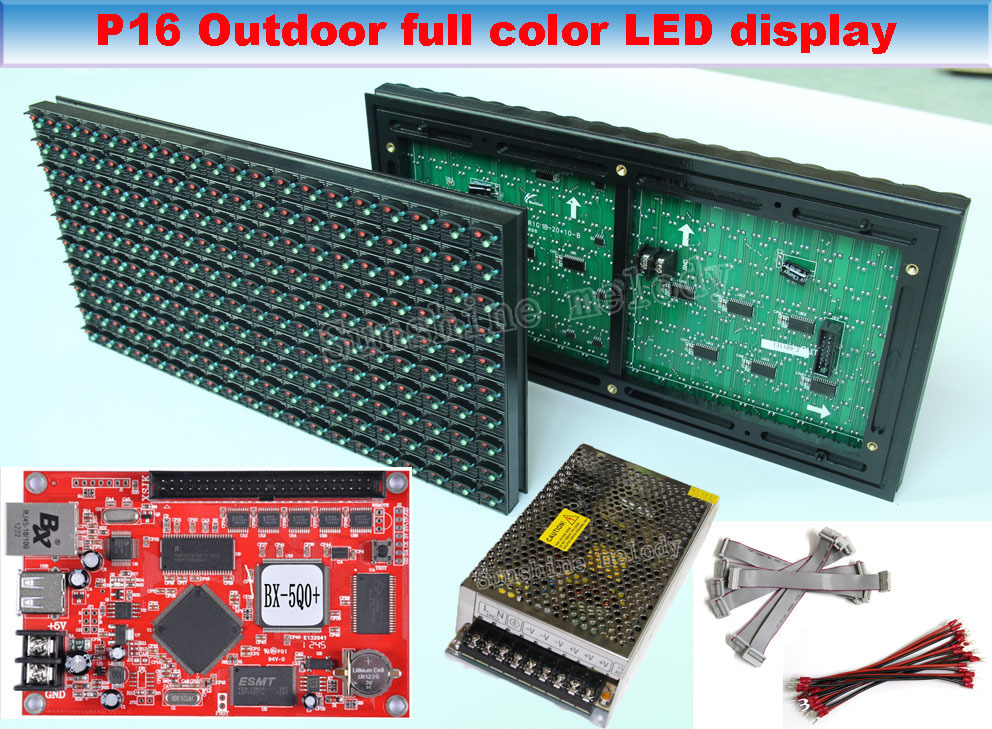 Free shipping DIY Outdoor full-color led sign,P16 LED display,20pcs LED Module+control card+2pc Power Supply+Data cable(China (Mainland))