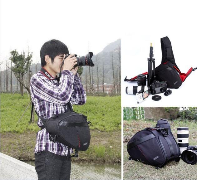 HOT ! DSLR Camera Chest Bag Nylon SLR Case Pouch Gadget Messenger Bag For Pentax Leica +Rain covers ,Free shipping(China (Mainland))