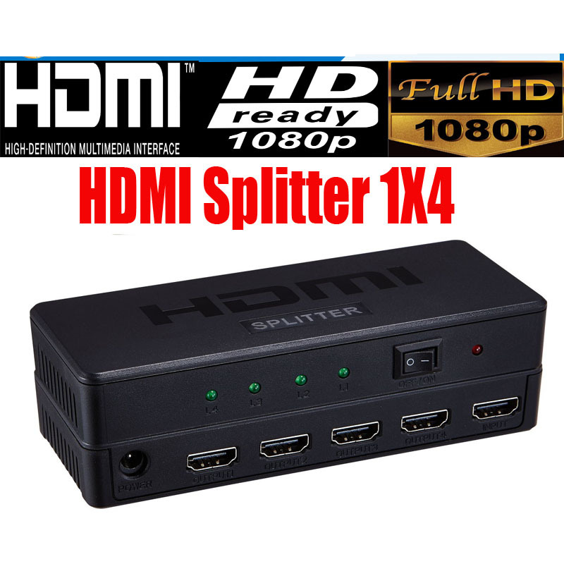 Full HD HDMI Splitter 1X4 4 Port Hub Repeater Amplifier v1.4 3D 1080p 1 in 4 out(China (Mainland))