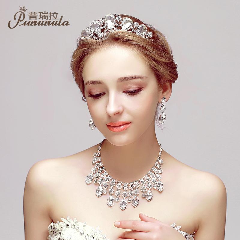 PUROILA Women Fine Jewelry Austrian Crystal Beach Wedding Jewelry Sets For Brides Crown Necklace And Earring Set Accessory(China (Mainland))