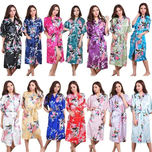 Новое длинный халат атласа район халат для женщин кимоно пижамы павлин Большой размер ...