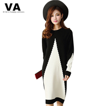 Buy VA Big Size Women Dress 2017 New Arrivals Autumn Winter Long Casual Warm O Neck Mid Calf Solid Knitting Sweater Dresses W00775 for $19.97 in AliExpress store
