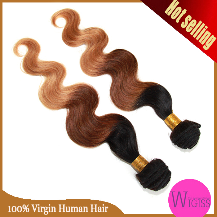 6A Malaysian Virgin Hair Body Wave Ombre Hair Extensions Three Tone 1b33#27# Ombre Human Hair Weaves Wigiss H6047AZ(China (Mainland))