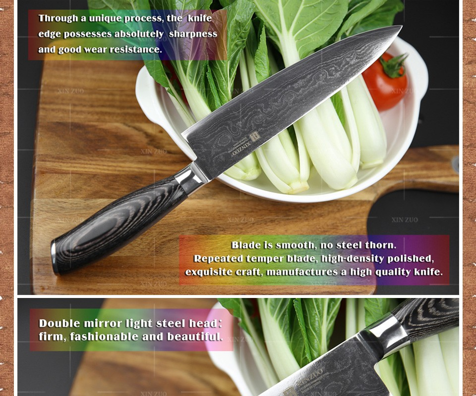 "Buy 2016 XINZUO 8""inch chef knives high quality fashion Japanese VG10 Damascus steel kitchen knife with Micarta handle Free shipping cheap"