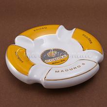 COHIBA Cuba Classic Gadgets Large Size MADURO 5 Porcelain Ceramic Table Cigar Ashtray Holder 4 Set W/ Gift Box Packing(China (Mainland))