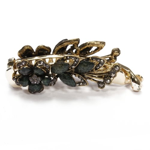 Women Banana Hair Clip Accessories Flower Leaf Black Resin HOT 108x34mm