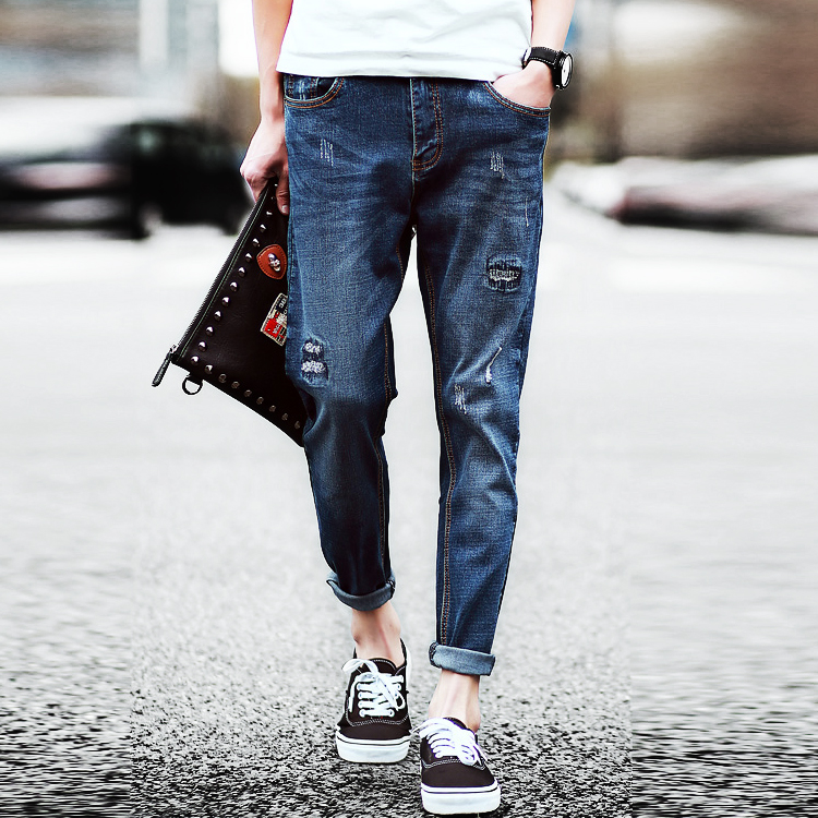 Top Designer Mens Hole Jeans Teenage Slim Long Trousers Male Casual Denim Trousers Одежда и ак�е��уары<br><br><br>Aliexpress