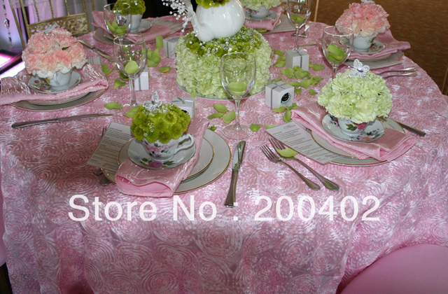 free shipping new desgin pink  taffeta rosette table cloth  for weddings decoration