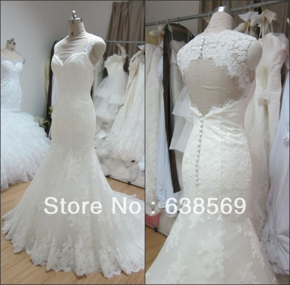 Cheap real sample bridal gown cap sleeves lace keyhole for Lace cap sleeve keyhole back wedding dress