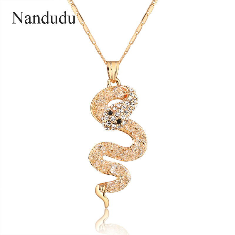 Nandudu Snake Pendant Chain Necklace Charming Women Crystal Jewelry Snake Chain Flexible Snake Necklace Gift CN137(China (Mainland))