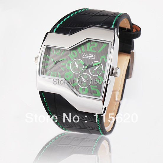 Oulm Multi-Function Dual Movt Leather Wrist Watch with Quartz Dial for Male Luxury brand watch(China (Mainland))
