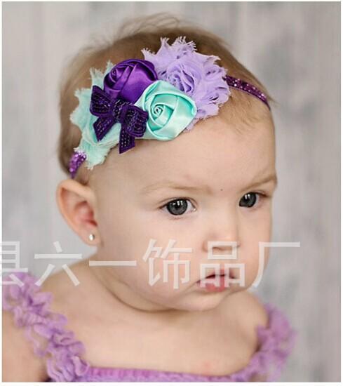 glitter headband bowknot hair accessories baby elastic headband hair elastic band flower hairband lace shabby flower 30pcs(China (Mainland))