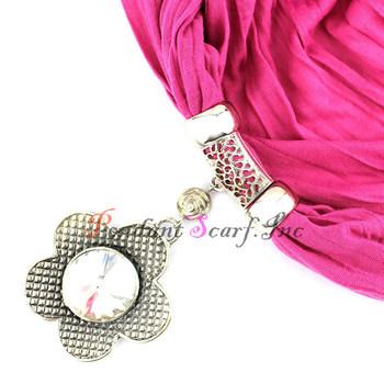 (12 Pieces/lot) Wholesale Retro Pink Glass Crystal Flower Pendant Jewelry Scarf with Beaded Tassels Free Shipping SC0005G