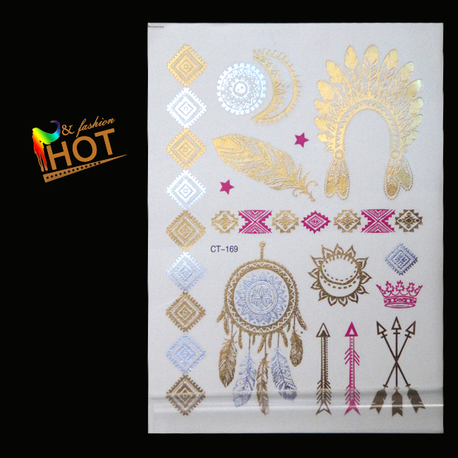 Color gold and silver feathers sun bronzing arm tattoo flash tattoo stickers waterproof stickers(China (Mainland))