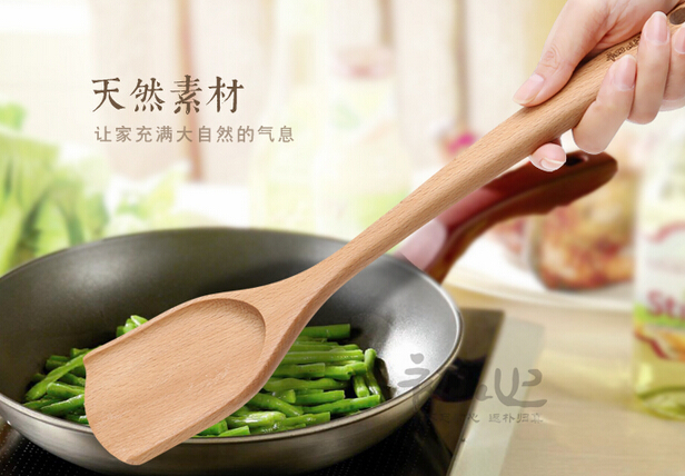 hand-carved polished natural beech shovel and wooden spoon The original color cooking tools kitchen aid utensils gadget(China (Mainland))