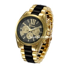 2016 New Fashion Geneva Watch Women Dress Watches Gold Full Steel Analog Quartz Men Wristwatches 5 Color