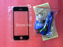 1pcs Black/white LCD Front Screen Glass Outer Lens & Tools Repair Kit for iPhone 5 5s 5c with Adhesive(China (Mainland))