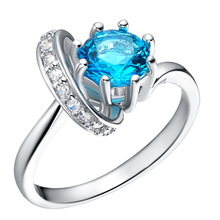 Trendy Wholesale Anel Jewellery 18K White Gold Eye Simulated Diamond Blue Ruby Amethyst Stone Big Vintage