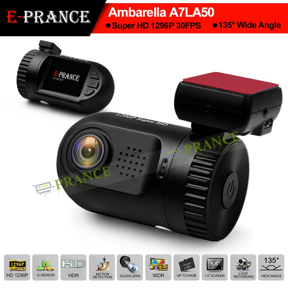 E-prance Mini 0805 Ambarella A7 LA50 Car DVR Camera Recorder Dashboard 2304*1296 30FPS Optional GPS/Internal 8GB(China (Mainland))
