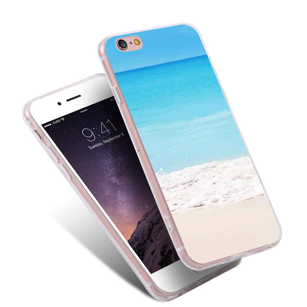 Sea Beach Cover Gel TPU Artistic Print Bag Phone Case For iPhone 7 6 6s Plus 5s Cover For Samsung S6 S7 Edge Plus Note7 A7 J7 S5