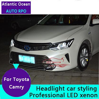 AUTO.PRO 2015 Toyota Camry xenon headlights bi xenon lens LED light bar Toyota Camry DRL car styling h7 xenon HEAD LAMPS(China (Mainland))