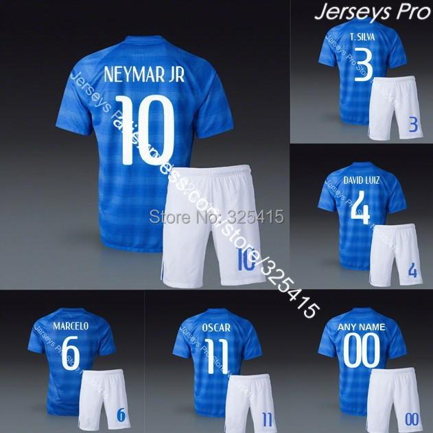 Camisas de futebol away blue Neymar ronaldinho pele david luiz marcelo lucas soccer jersey football uniforms kits embroidery(China (Mainland))