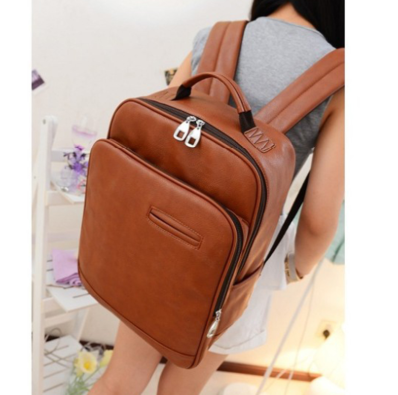new 2015 College Wind leather Backpack men backpacks women backpack men travel bags school backpacks(China (Mainland))
