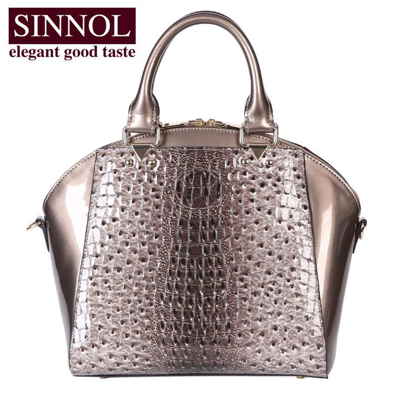 SINNOL   The international famous brand new head layer cowhide leather women bag Crocodile grain portable wings package <br><br>Aliexpress