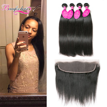 Straight Lace Frontal Closure With Bundles 4 Bundles Straight Malaysian Virgin Hair With Closure Straight Hair Weft With Frontal(China (Mainland))