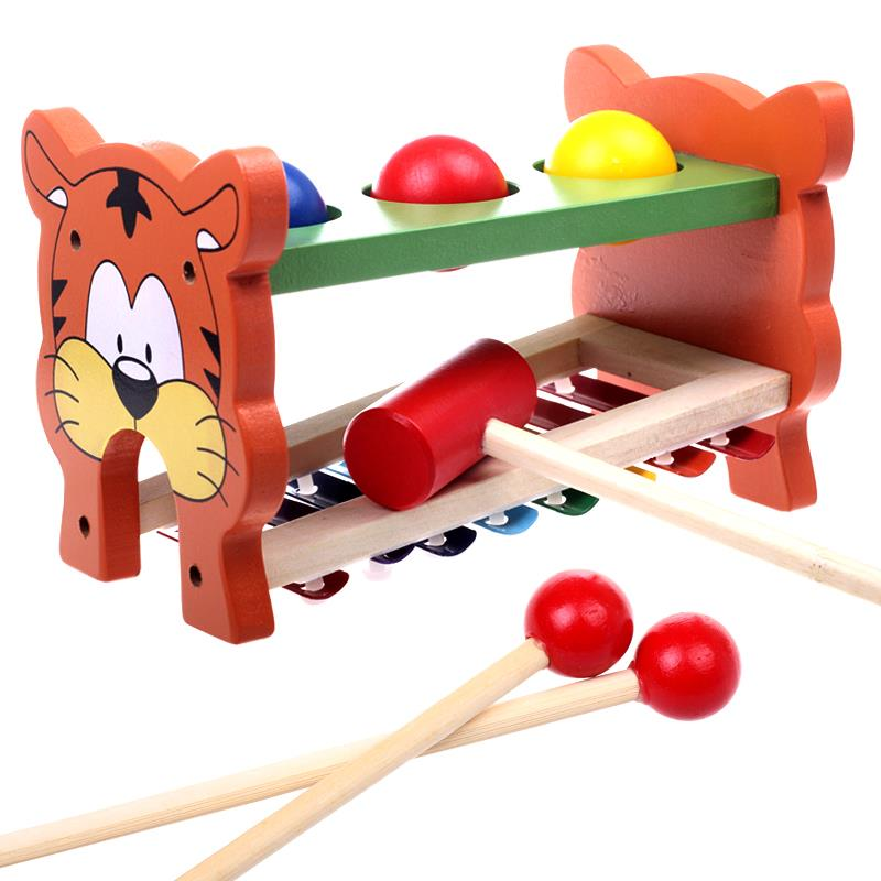 Children Kids Educational Toys Wooden Tiger Knock Off Ball Piano Punch and Drop Pound and Roll DIY Wood Toy(China (Mainland))