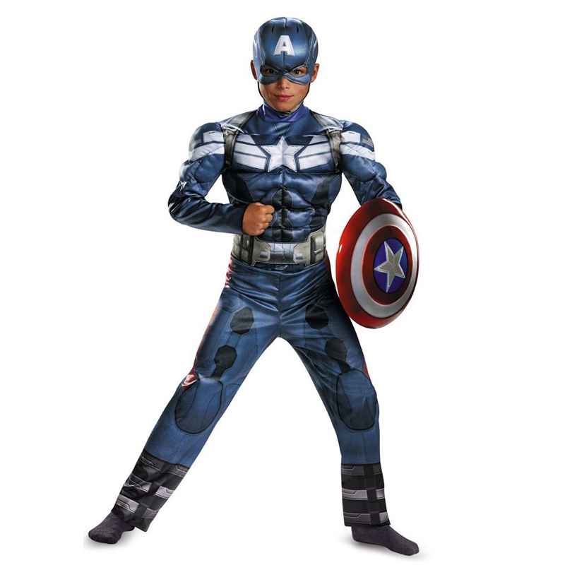 genuine boys captain america movie 2 classic muscle halloween cosplay costumechina mainland - Halloween Muscle