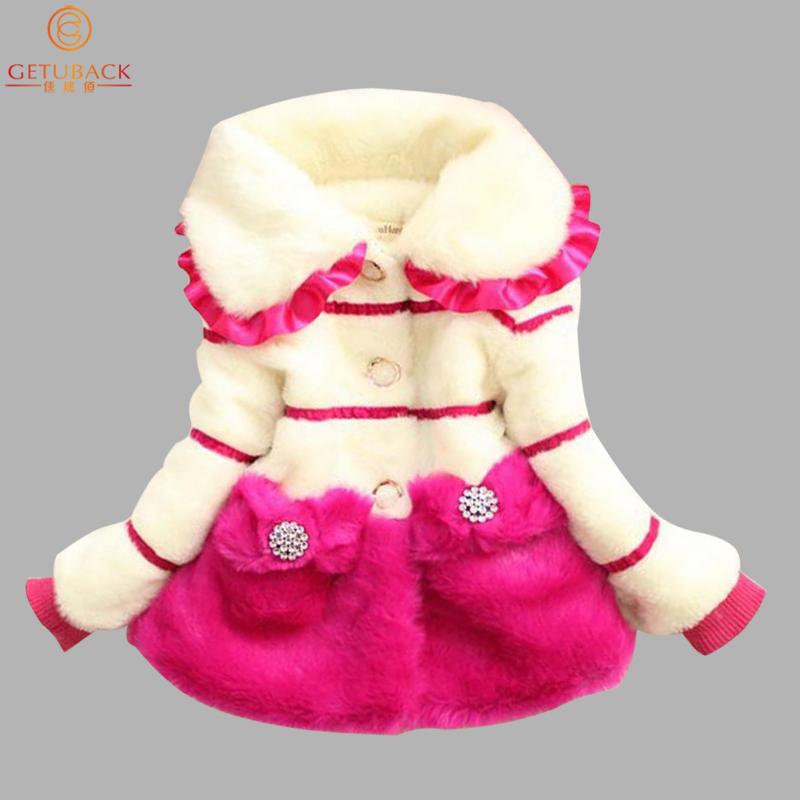 2015 Children Faux Fur Coats Winter Bowknot Princess Baby Girl Fashion Jackets Kids Brand Thermal Outerwear Warm Tops, HC499(China (Mainland))