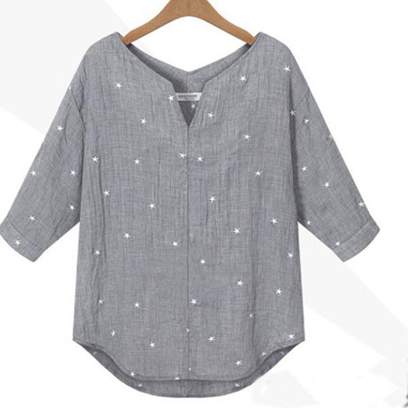 Новый лето осень Blusas 2015 женщин v-образным вырезом 3/4 рукавом свободного покроя широкий звезда печатных блузка рубашки Большой размер рубашки