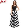 Women Maxi Dress Summer Beach Wear Boho Bohemian Style Black Striped Long Dresses Female Sleeveless O