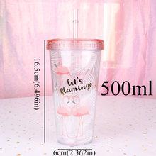 500 мл Фламинго пластиковая дорожная кружка для чая кофе кружка с ремнем tubule с крышкой милый мультфильм питьевой двойной стены для молока сок...(China)