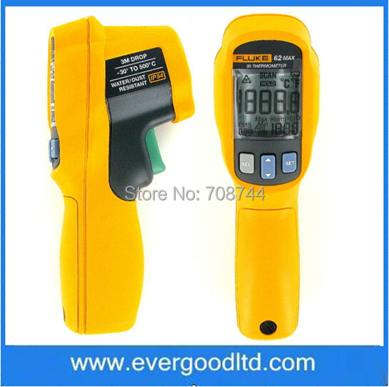 Hot Sale Fluke 62 MAX Digital Infrared Thermometer Fluke 62 Max+ Dual Laser Infrared Thermometer -30 C to 500 C(China (Mainland))