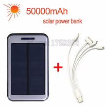 Hot sale Solar powerbank 50000mAh power bank portable 2 usb solar charger for iPhone ipad Samsung Sony PK xiaomi power bank (China (Mainland))