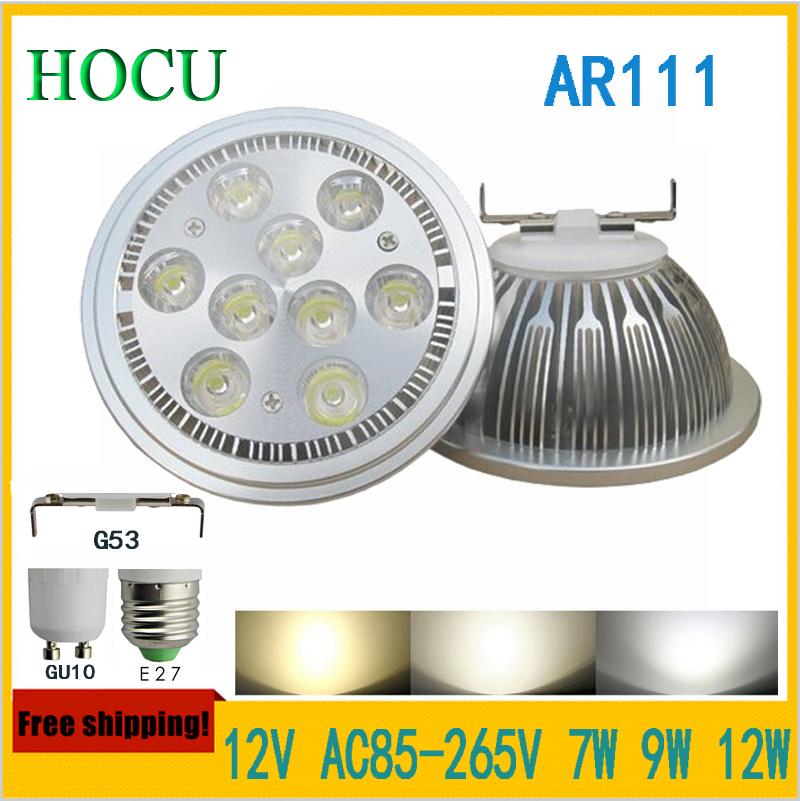 Free Shipping 4pcs/lot G53 ES111 QR111 AR111 LED lamp 7*2W 9*2W 12*2W Spotlights Warm White /Nature White/Cool White Input DC12V<br><br>Aliexpress