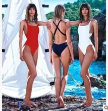 2016 Red Black White Back Cross Bodysuit Monokini Sexy One Piece Swimsuit Backless Swimwear Women Bathing Suit Beachwear Bather