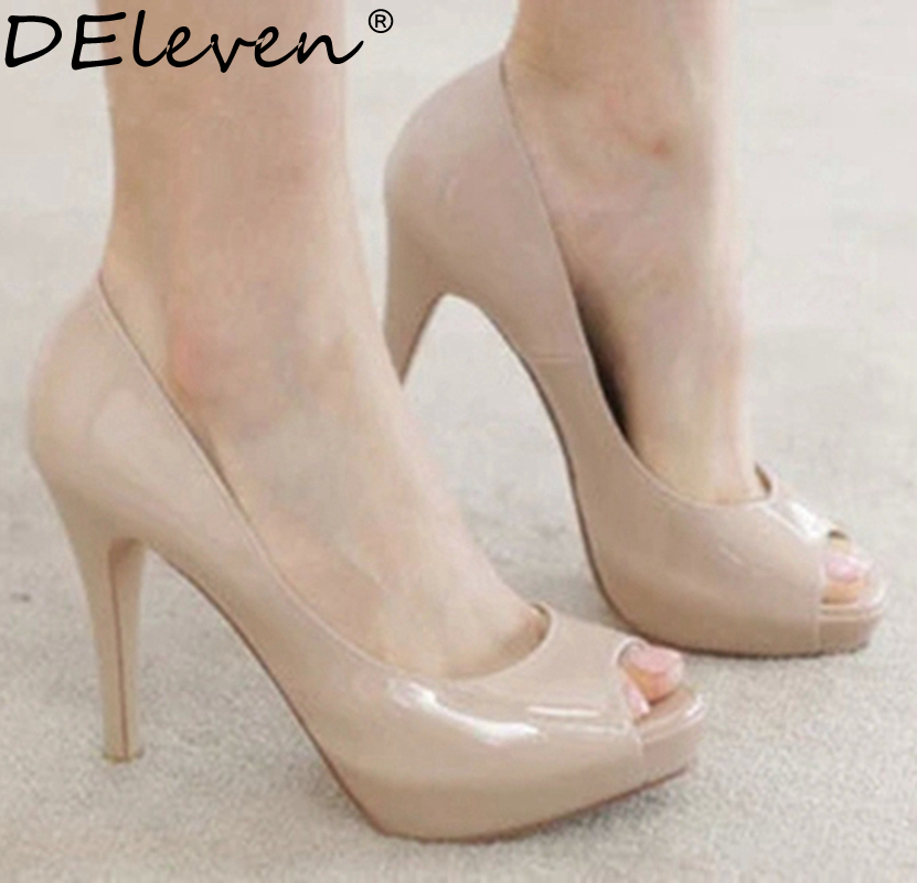Classics Fashion Spring Autumn Women Peep Toe High Heels Shoes Nude<br><br>Aliexpress