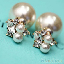 Women's Elegant Double Sides Faux Pearl Rhinestones Water Earrings 4PSG(China (Mainland))