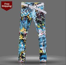 Autumn 2016 fashion england printed famous brand jeans men pant denim trousers male straight personalized british style stage