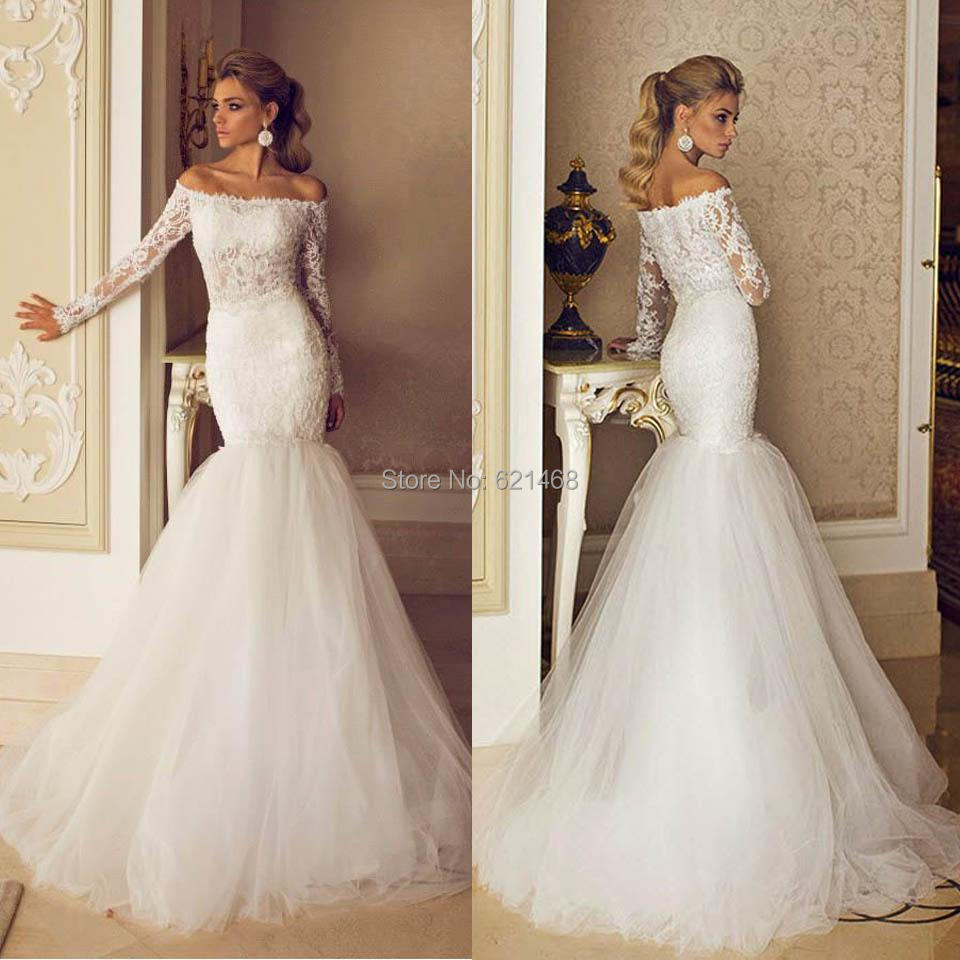 Plus Size Long Sleeve Mermaid Wedding Dresses : New arrival wedding dress custom made lace appliques