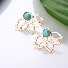 Kolczyki z kryształem kwiatowym dla kobiet biżuteria dwustronne koczyki ze złota i srebra prezent dla najlepszego przyjaciela A55(China)